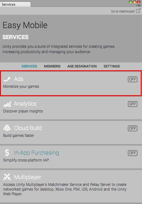 Setup Unity Ads · Easy Mobile User Guide